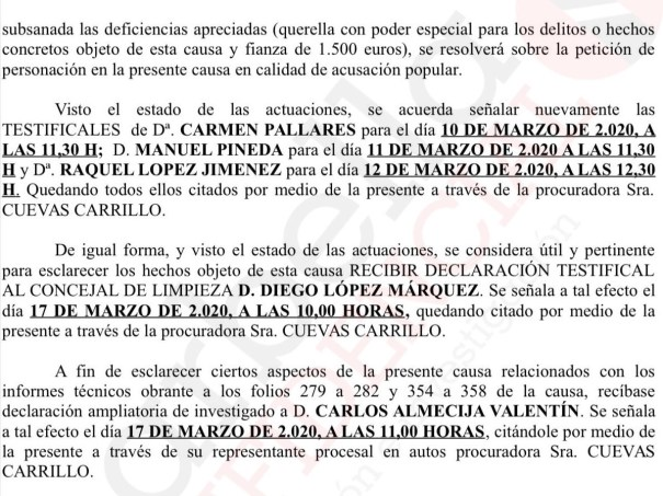 Extracto de la providencia dictada por el juez que instruye este caso en Marbella