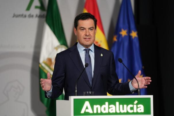 Imagen del presidente de la Junta, Juanma Moreno, este jueves durante su comparecencia institucional. FOTO/ Junta de Andalucía