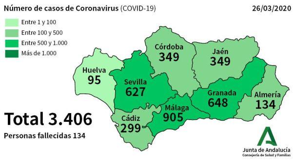 Mapa de casos a 26 de marzo en Andalucía. FUENTE/ Junta