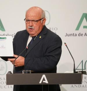 El consejero de Salud y Familias de la Junta de Andalucía, Jesús Aguirre, este martes en rueda de prensa. FOTO/ Junta de Andalucía