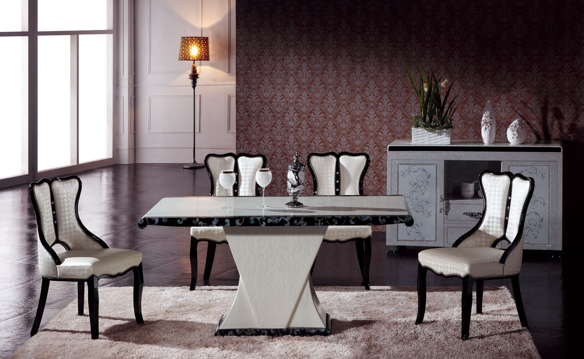 Maiyar Marble Dining Table With 6 Chairs Marble King