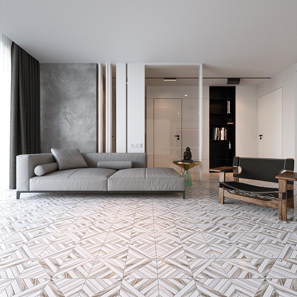 skyline snow white honed ponte marble mosaics 14 5 16x14 5 16