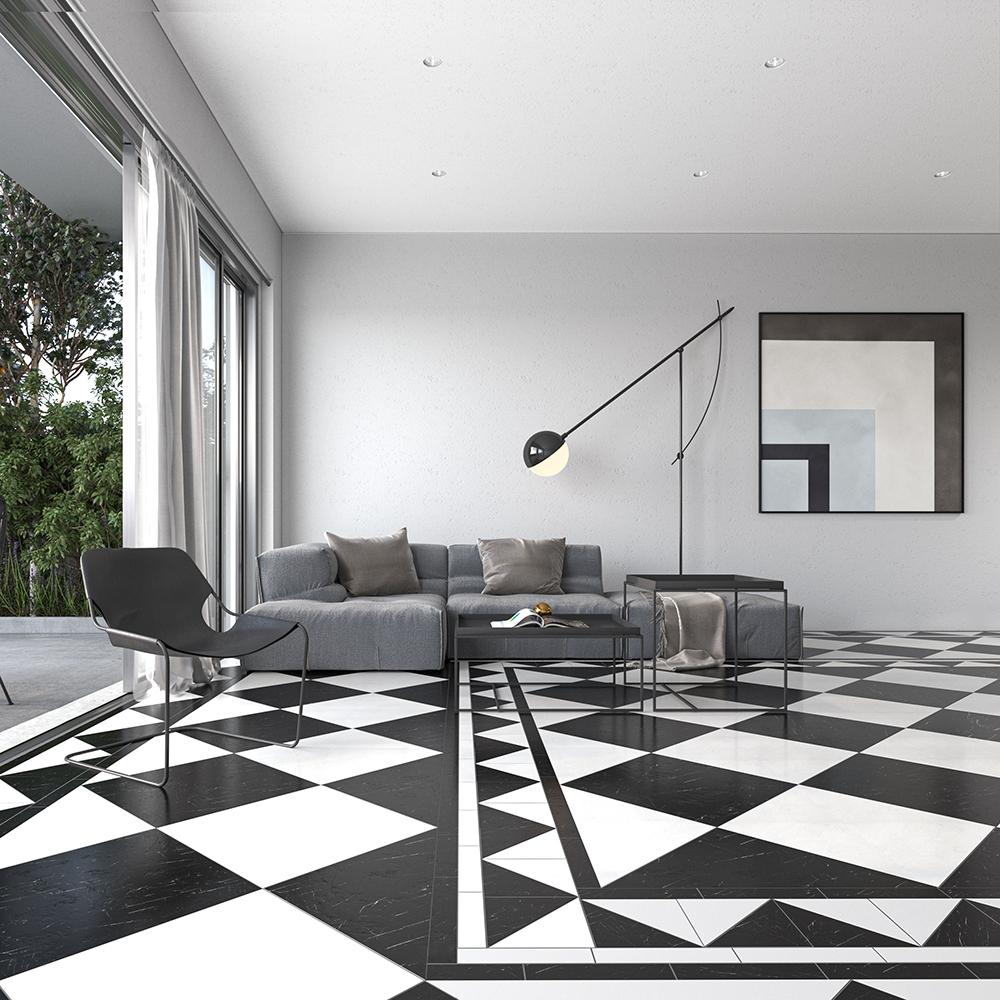 black polished marble tiles 18x18