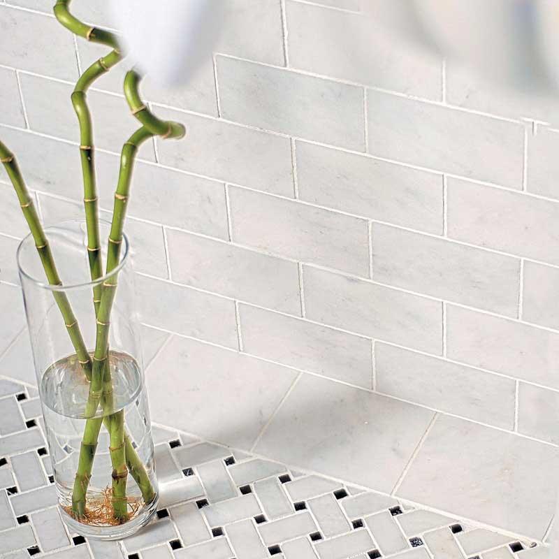 glacier honed basket weave marble mosaics 12x12