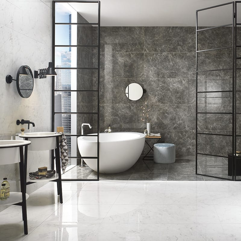 bianco carrara polished porcelain tiles 12x24