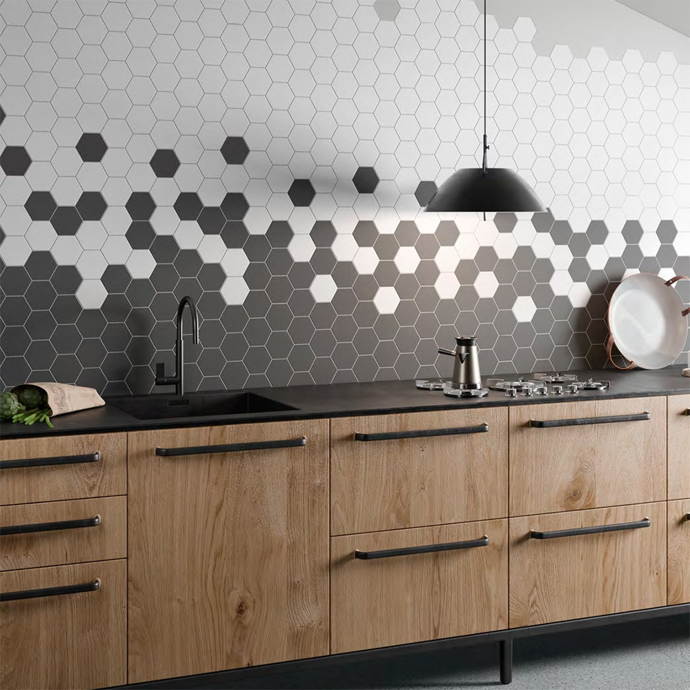 dark gray matte hexagon ceramic tiles 8 1 4