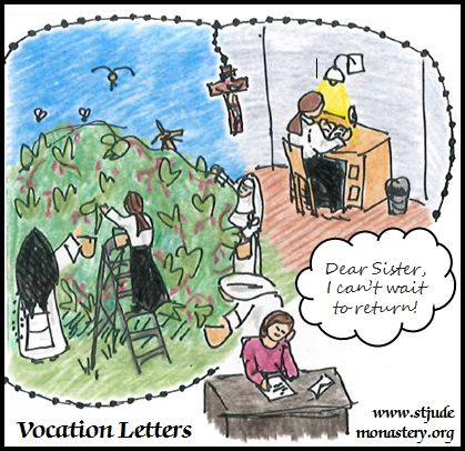 Cartoon of Melanie remembering her time as an Aspirant with the Dominican Nuns