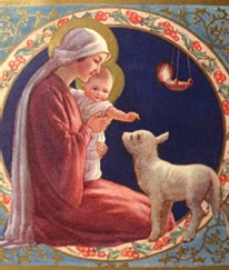 Image of Mary, Baby Jesus, and a lamb