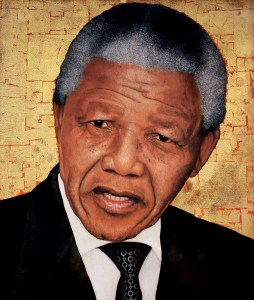 Nelson Mandela 'Icon' by Marc Alexander, oil on canvas, 60cm by 50cm, (2013).