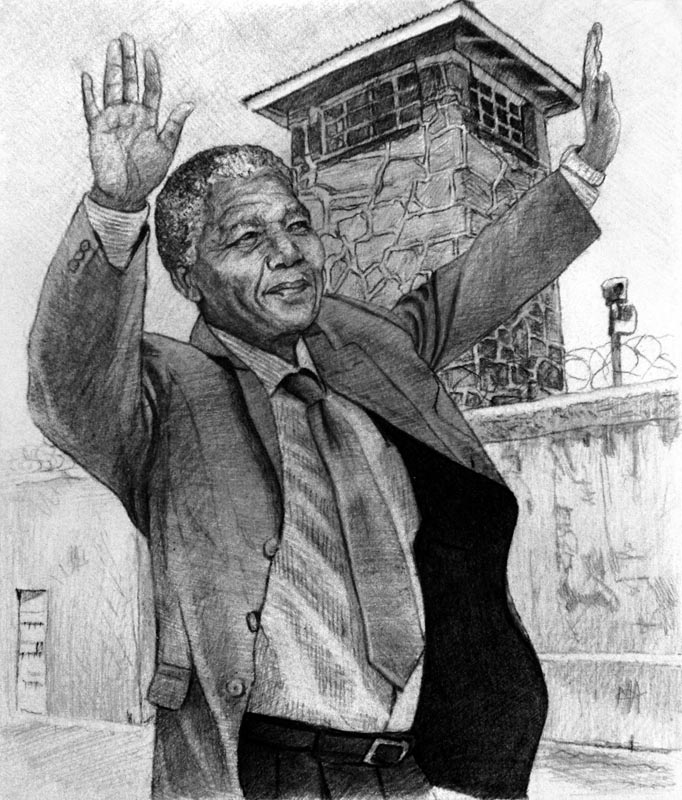 "Nelson Mandela 'Robben Island Revisited Preliminary Sketch' by Marc Alexander, pencil on paper, 17cm by 14.5cm, (2013). In this portrait you see Mandela with his eyes turned to heaven and hands lifted in praise to the Almighty. Marc believes that Nelson Mandela was raised as a leader by God to turn South Africa away from the brink of civil war. Here we see a man who chose forgiveness over bitterness and unity over vengeance. Mandela once said, ""There is nothing like returning to a place that remains unchanged to find the ways in which you yourself have altered."""