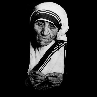Mother Teresa #II, Oil and Steel Wire on Board, 100cm by 100cm. (2012)