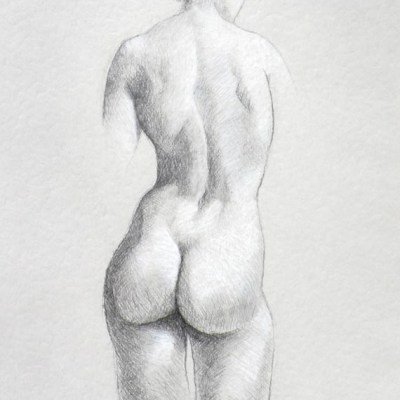 Female Nude #8, Pencil and White Charcoal on Paper, 21cm by 15cm. (2013)