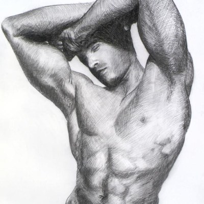 Male Nude #2, Charcoal on Paper. 42cm by 60cm, (2013)