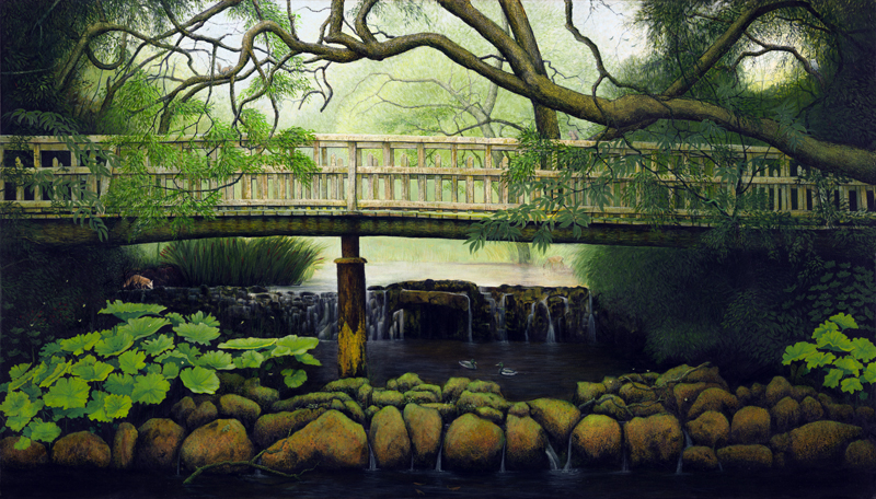 Water Garden, Oil on Canvas, 80cm by 140cm. (2014)