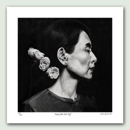 Aung San Suu Kyi Paper Print - Limited edition artist paper prints by South African artist Marc Alexander as part of his 'Legacy' Series. Original painted in oils