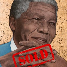 Nelson Mandela portrait by South African Artist Marc Alexander. Titled Contemplation. Medium Oil and Gold Leaf on Canvas, Size 120cm by 90cm. Year (2014)