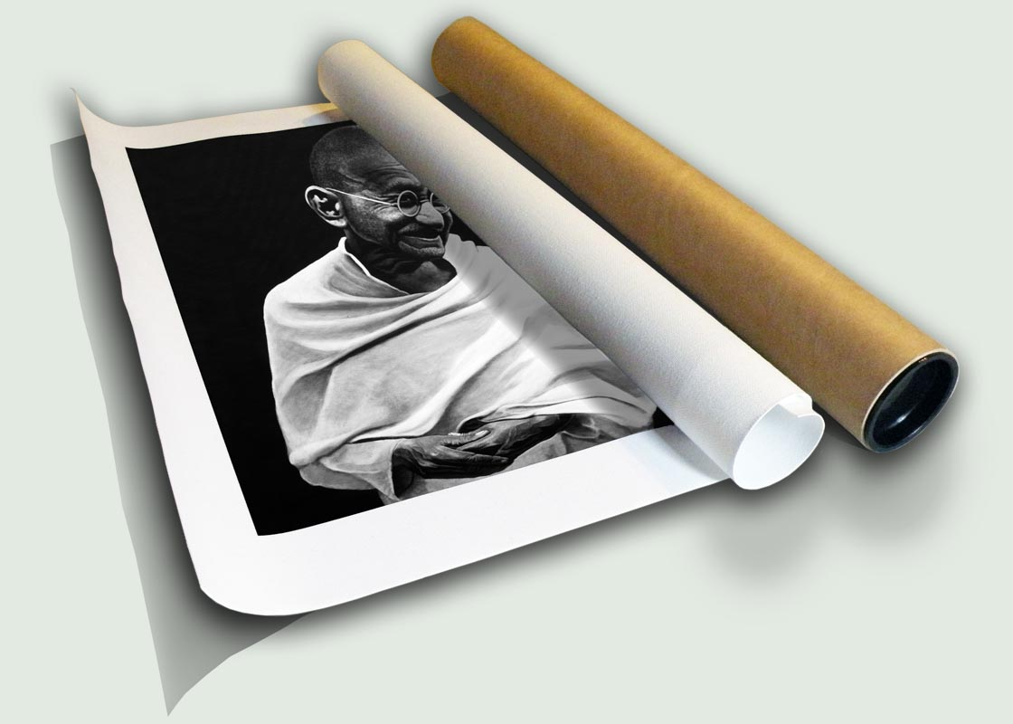 "Mahatma Gandhi I Rolled Canvas, limited edition artist print on canvas rolled in a core by South African artist Marc Alexander as part of his ""Legacy"" series."
