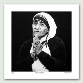 Mother Teresa I paper print - Limited edition artist paper prints by South African artist Marc Alexander as part of his 'Legacy' Series. Original painted in oils