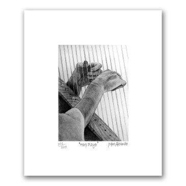 Harp Player – Archival Print Unframed