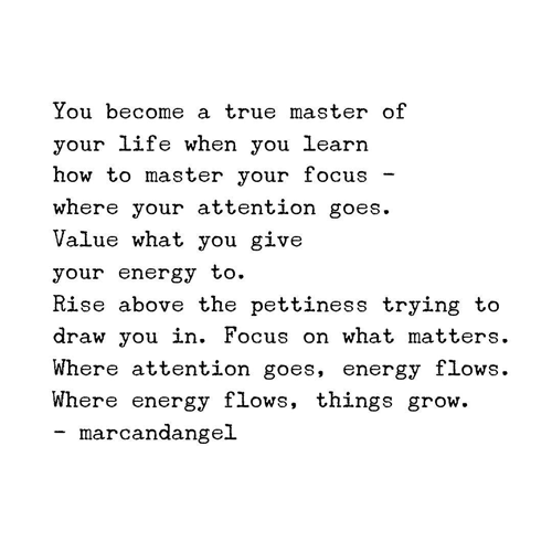 You become a true master of your life when you learn how to master your focus—where your attention goes. Value what you give your energy to. Rise above the pettiness trying to draw you in. Focus on what matters. Where attention goes, energy flows. Where energy flows, things grow.