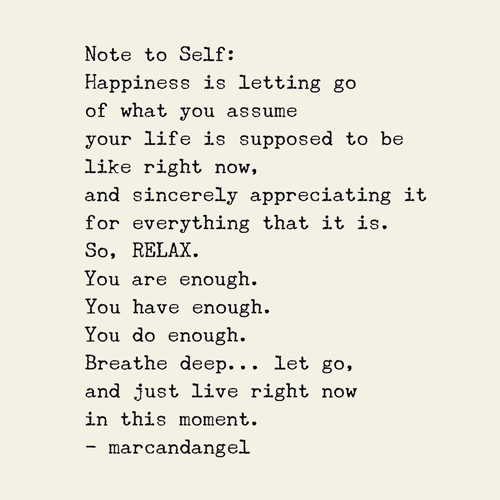 Note to Self: Happiness is letting go of what you assume your life is supposed to be like right now, and sincerely appreciating it for everything that it is. So, RELAX. You are enough. You have enough. You do enough. Breathe deep... let go, and just live right now in the moment.
