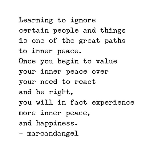 Learning to ignore certain people and things is one of the great paths to inner peace. Once you begin to value your inner peace over your need to react and be right, you will in fact experience more inner peace, and happiness.