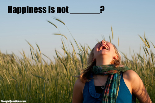 Happiness is not __?