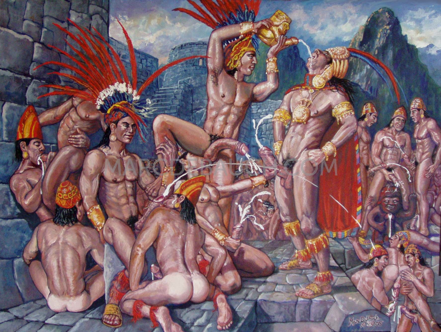 INCA CUM DRIUNKING RITUAL (Permanent collection of the Lesile Lohman Museum)