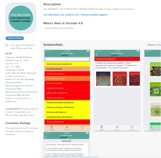 """Aplicación """"LOS ORGANOS, SUS CONFLICTOS Y RESOLUCIONES"""" para Iphone, Ipad y Android"""