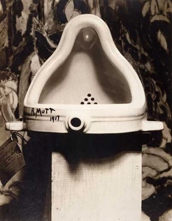Fountain,  1917/1964. Readymade: porcelain urinal. 23.5 x 18 cm, hight 60 cm. Private collection.