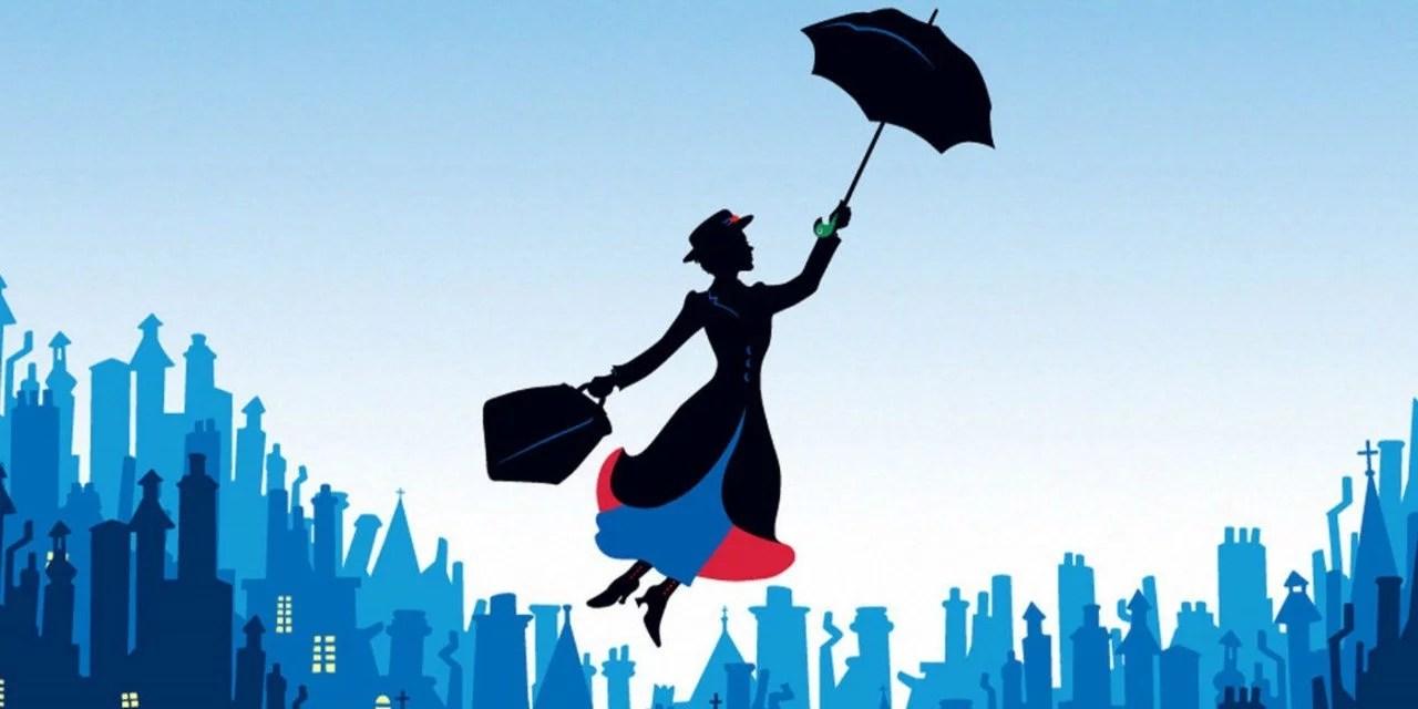 Ilustração da Mary Poppins voando sobre uma cidade