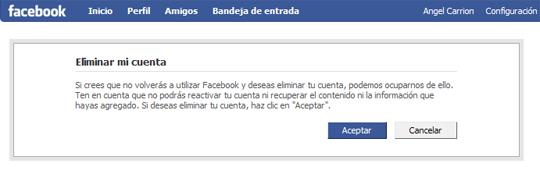darse de baja de facebook