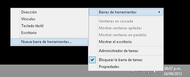 barra inicio win 8 click derecho
