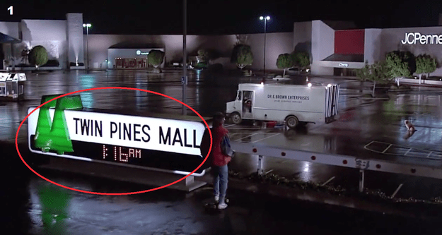 The mall that Marty meets Doc at is named Twin Pines Mall.