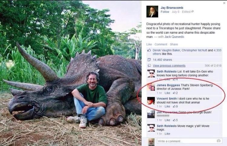 """""""No importa si es Spielberg, no debió dispararle al pobre animal"""""""