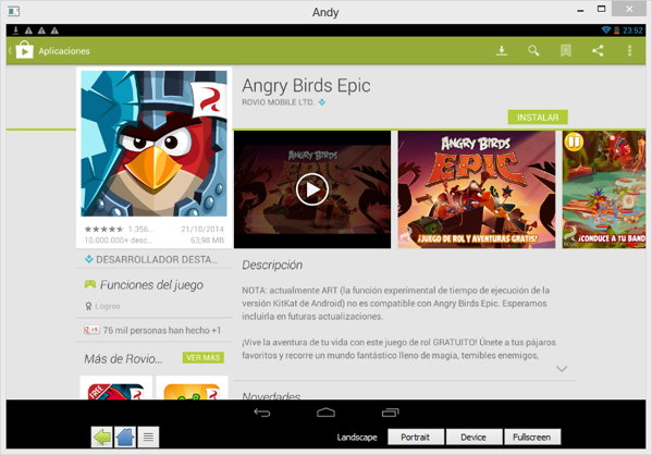 andy tablet angry birds