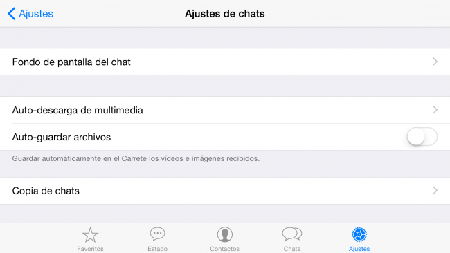Whatsapp Ajustes Chat