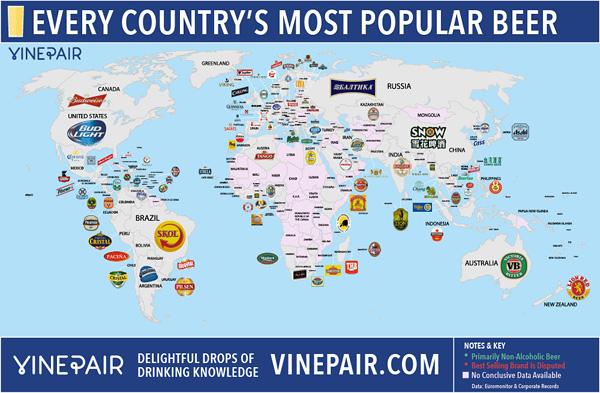 Mapa mundial cervezas más populares por países