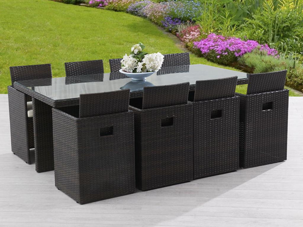 salon de jardin en resine tressee avec table et 8 fauteuils dossiers rabattables chocolat