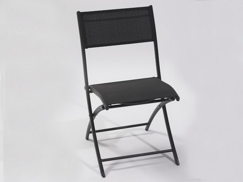 chaise pliante de jardin en aluminium et textilene coloris noir