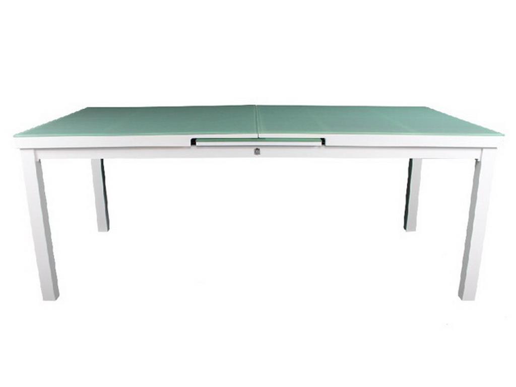 table de jardin mykonos aluminium plateau verre avec rallonge 180 240x100x77cm blanc