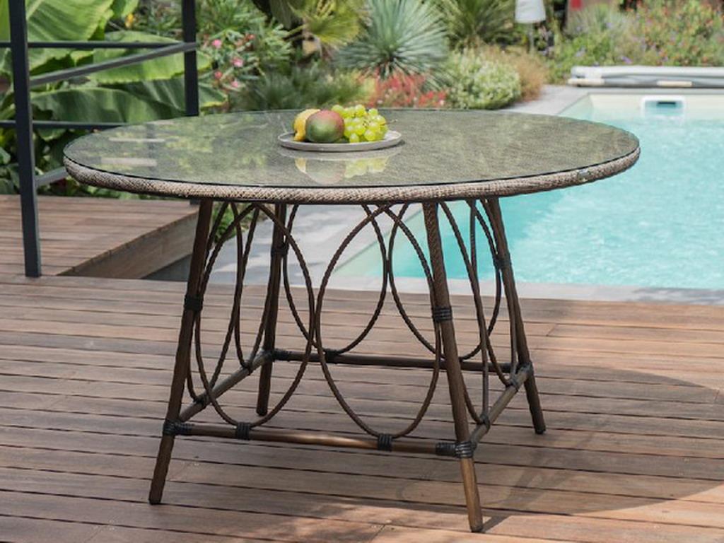 table ronde de jardin ushuaia o125cm aluminium marron plateau verre