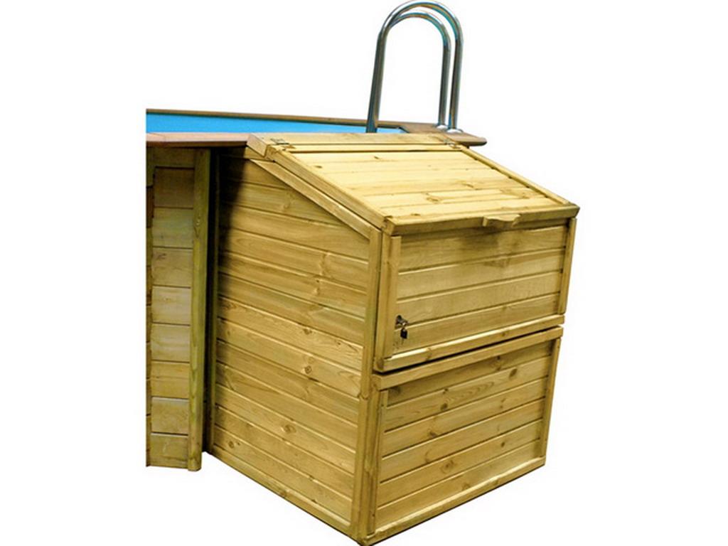 coffre de filtration en pin pour piscine octogonale bois hauteur 133cm