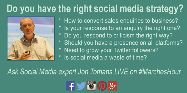 Live Tweeting with Jon Tromans on #MarchesHour