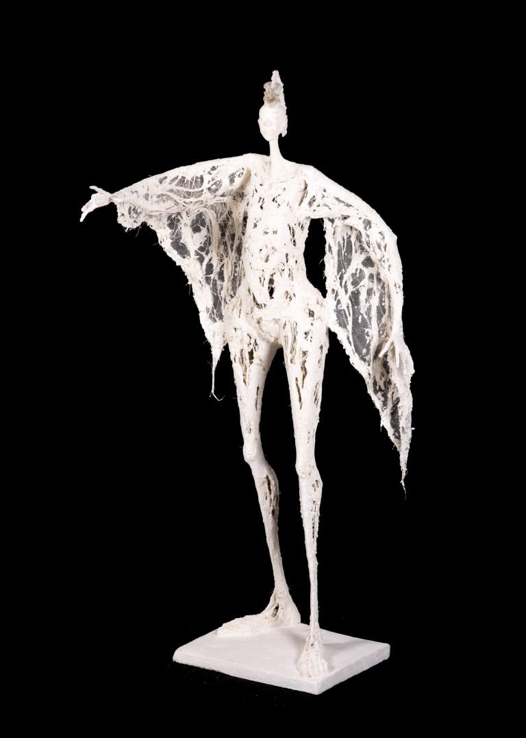 L'oiseau-Roi couronné - Os, plâtre et filasse, grillage - H. 1m08