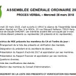 Procès verbal de notre AG 2018