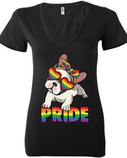 Pug Pride LGBTQ+ Ladies Deep V-Neck