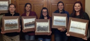Wine & Watercolors 11-1-14 (L to R): Marisabel Nicoletti, Valeria Asher, Kelly, Carina Miguez, Darcy Goeken