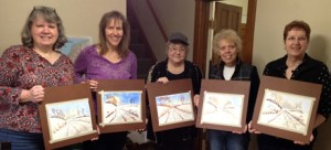 Wine & Watercolors 1-25-15  (L to R): Cindy Whitson, Karen Whitson, Pat Sorensen, Trudy Hoffman, and Marisabel Nicoletti.