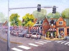 "Busy Corner, 11"" x 15"" watercolor"